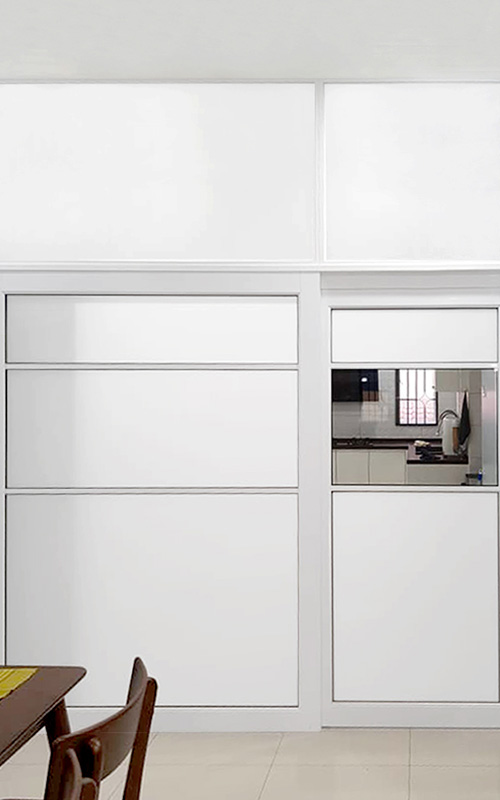 gw01-Aluminium Suspended Sliding Door Silent White Kitchen Dining Divider Opaque Extension 1-2