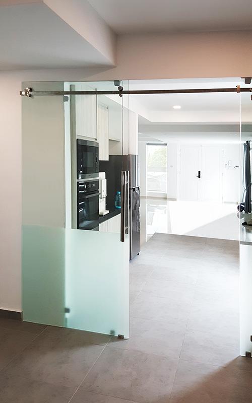 gw03-Tempered Glass Suspended Sliding Door Kitchen Dining Divider Sandblast Custom 1-3